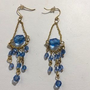 Blue dangling bead earrings
